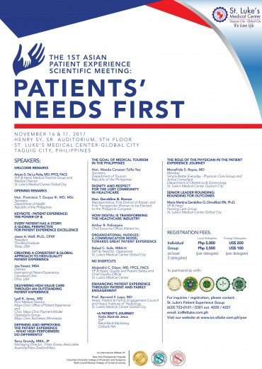 The 1st Asian Patient Experience Scientific Meeting: Patients' Needs First