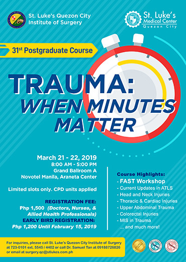 31st Postgraduate Course - Trauma: When Minutes Matter